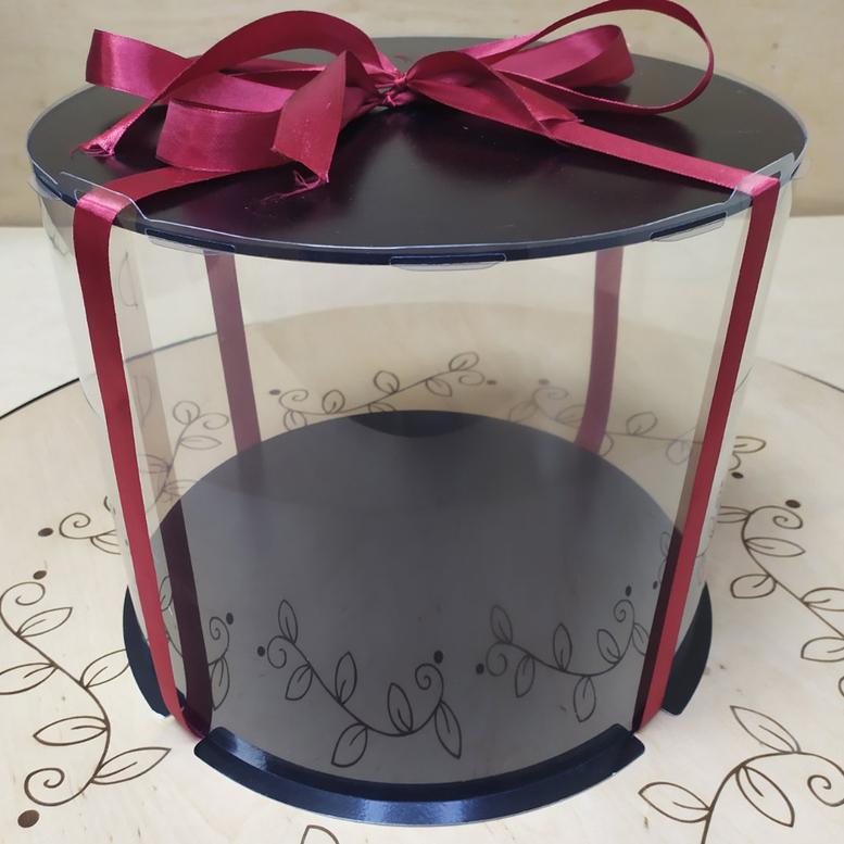 Коробка для торта 300х300х250 (тубус) черная/основание 10 мм (1 шт.)