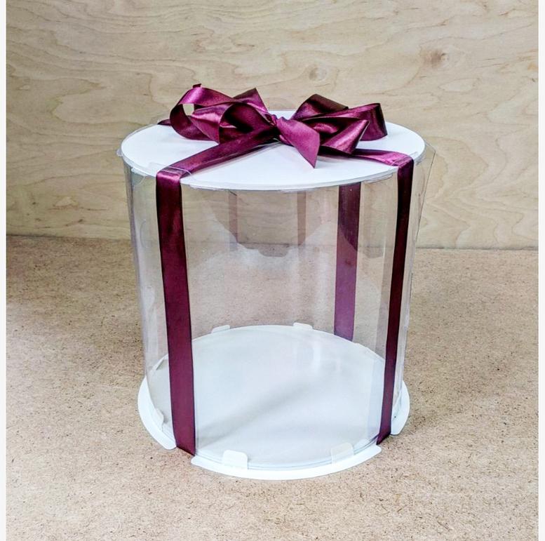 Коробка для торта 300х300х250 (тубус) белая/эконом