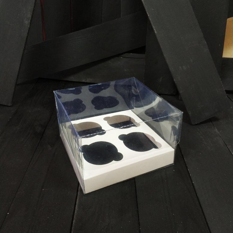 Коробка для 4-х кексов 180х180х100 прозрачная, 1 шт. (ПЭТ)