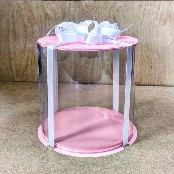 Коробка для торта 250х250х250 (тубус) розовая/основание 10 мм (1 шт.)